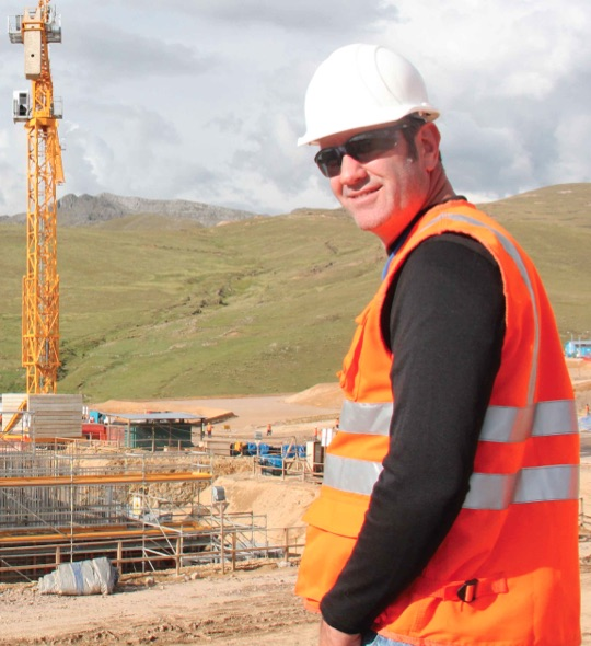 Meagher at the Constancia site, in Peru, during mine construction.