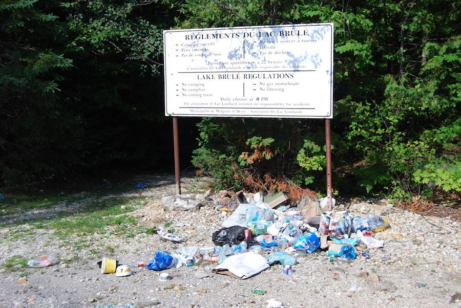 """On the site next to the mine Lac Brûlé,"" reads a Facebook post by Lyne Desjardins , who is asking to keep the area clean."