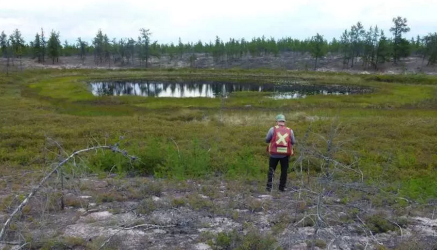 View of a pond identified as a magnetic anomaly by De Beers Canada in its survey of CanAlaska Uranium's West Athabasca diamond project. Image by CanAlaska Uranium.