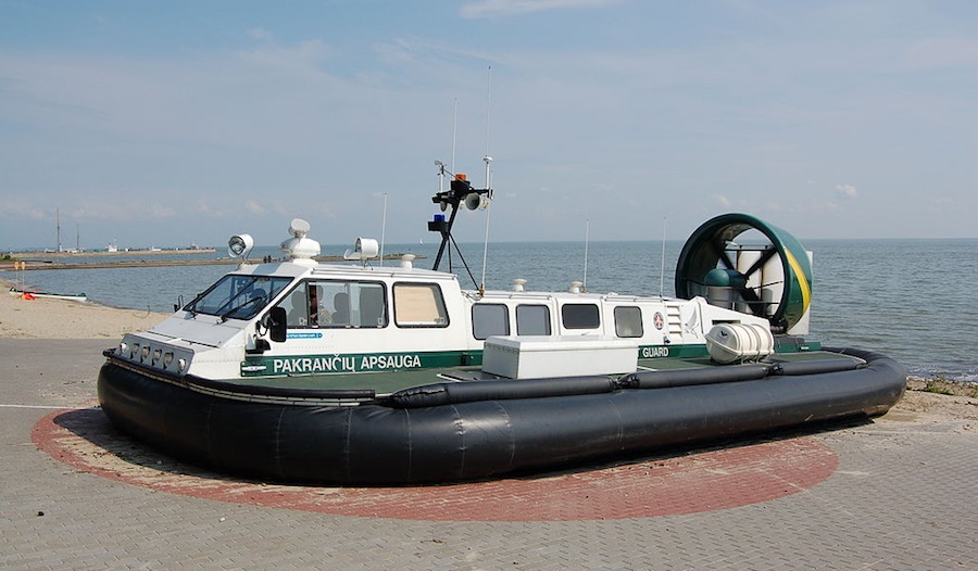 A Griffon 2000TDX Mk II hovercraft, with engine on and flexible skirt inflated, is the type of craft being considered by Agnico Eagle. Image by Bahnfrend.