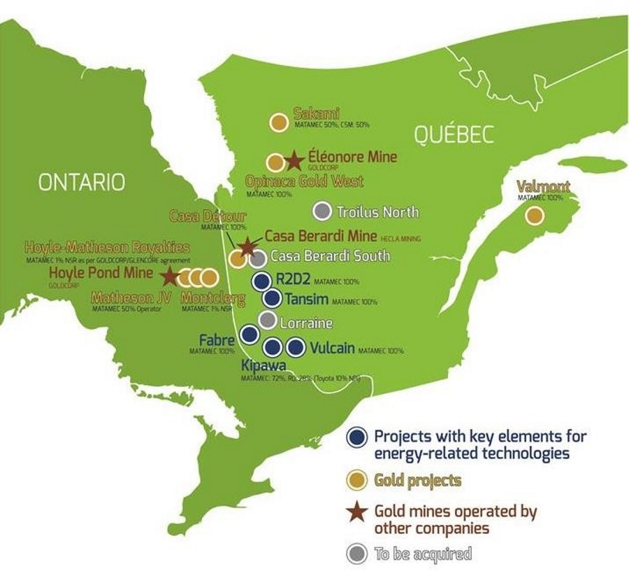 Mines in Ontario and Quebec