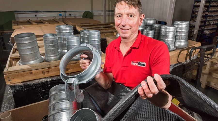Hoseshop's Mick Shakespeare in his Harrogate premises with some of the hoses and couplings supplied to a diamond mine in Angola - photo by Giles Rocholl