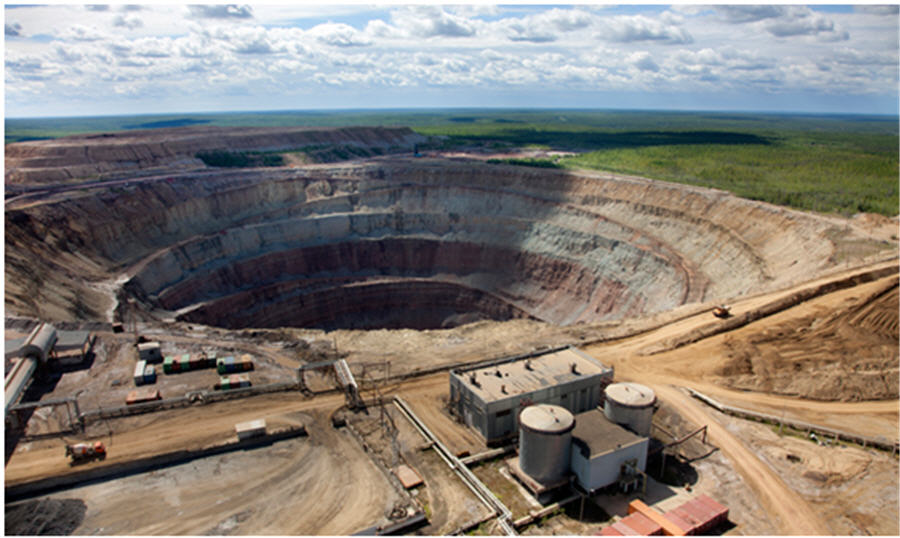 2017 global natural diamond production-The International mine in Russia.
