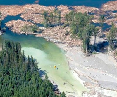 Aerial view of Mount Polley tailings-dam breach, August 2014 BIV files