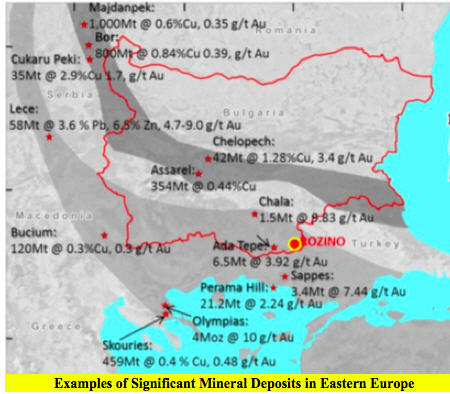 Velocity Minerals - exciting gold play in Bulgaria - Examples of Significant Mineral Deposits in Eastern Europe map