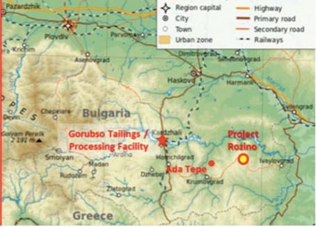 Velocity Minerals - exciting gold play in Bulgaria - map