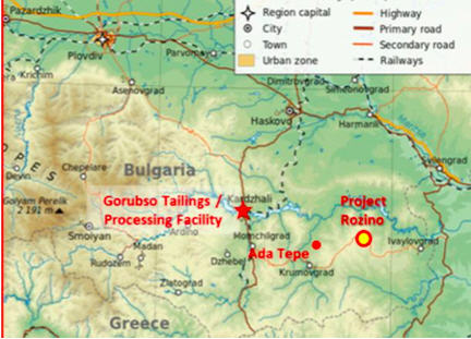Velocity Minerals - exciting gold play in Bulgaria - map2