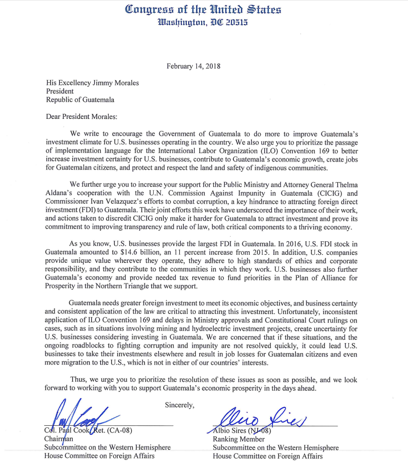 US Congress members send letter to Guatemala s president urging