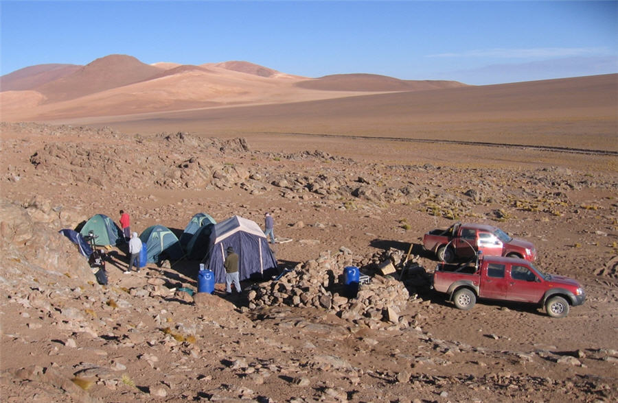 Temporary prospecting camp