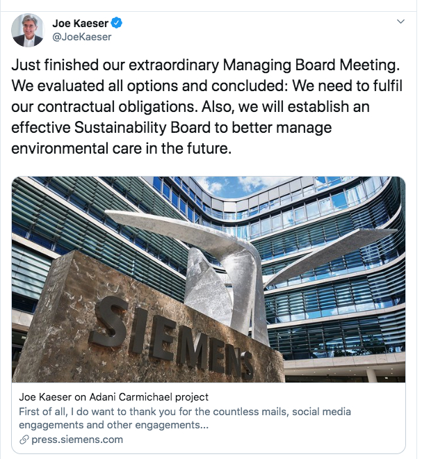 Chief executive, Joe Kaeser, said Adani's Carmichael mine would go ahead with or without Siemens, adding he had to balance stakeholder interests.