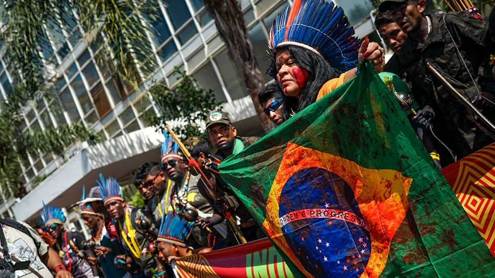 Indigenous people march on the Brazil capital.