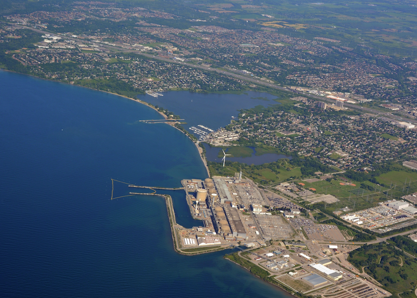 Aerial view of nuclear plant near Pickering, Ontario