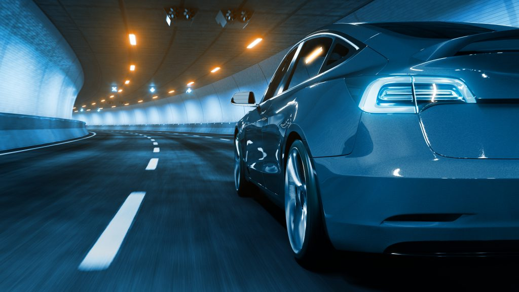 Plug-in electric vehicle with glow and motion blur