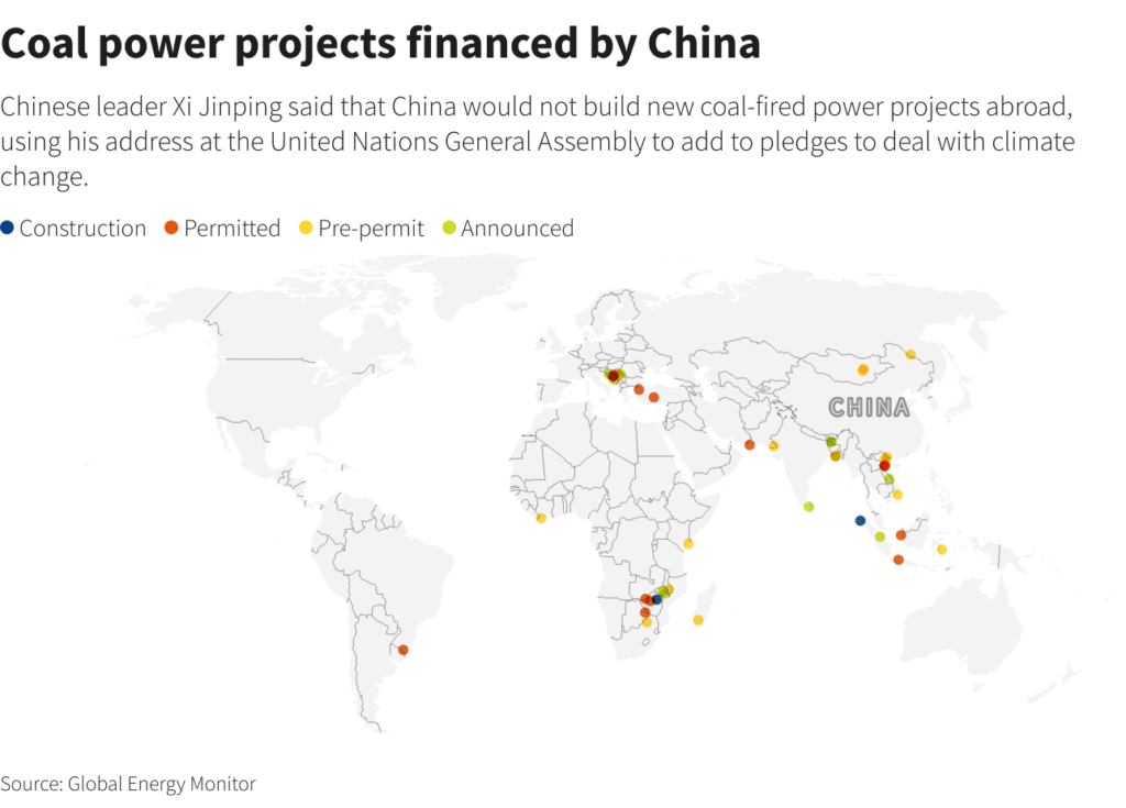 China vows to end funding for overseas coal power plants